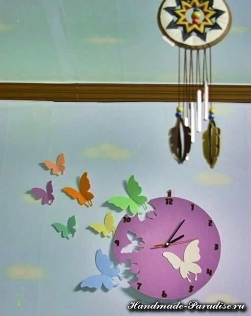 Часы с бабочками из фетра (1)
