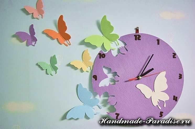 Часы с бабочками из фетра (2)