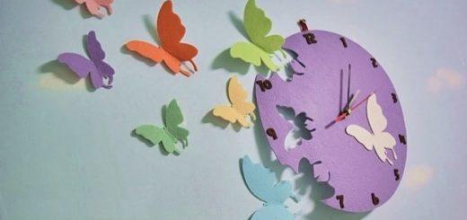 Часы с бабочками из фетра