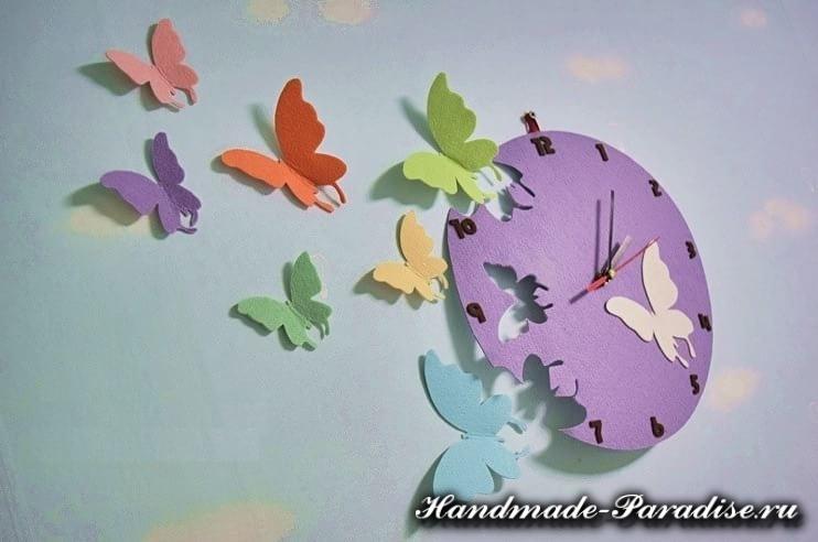 Часы с бабочками из фетра (3)