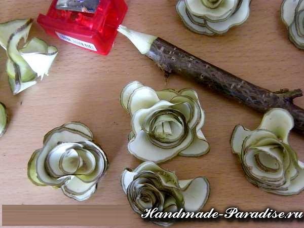 Деревянные розочки из веток (11)