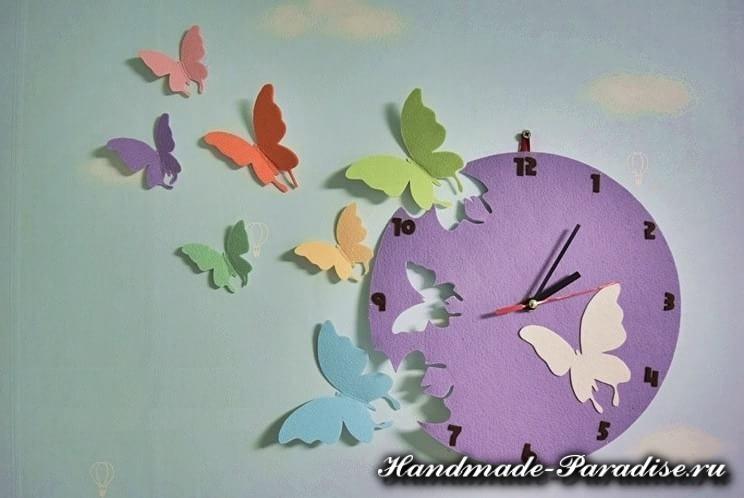 Из фетра - часы с бабочками (10)