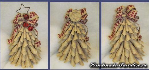 Новогодняя елка из мешковины
