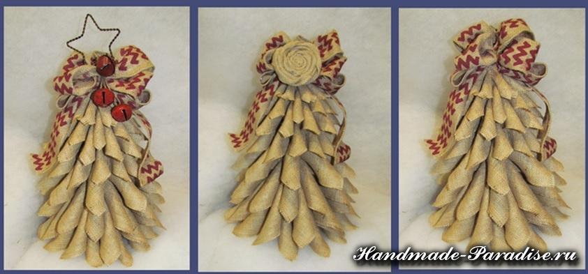 Новогодняя елка из мешковины (13)