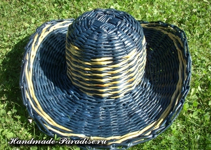 Шляпа из газетных трубочек (22)