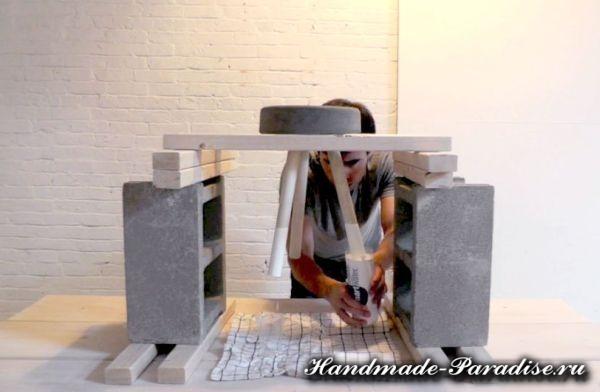 Скамейка из бетона своими руками (8)