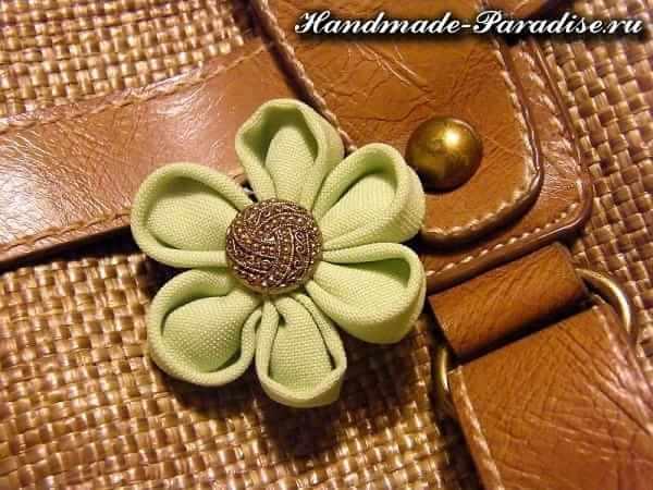 Цветочки канзаши из ткани (10)