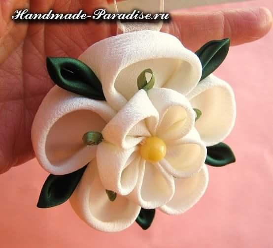 Цветочки канзаши из ткани (12)