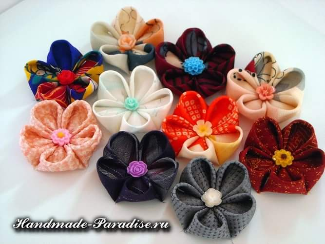 Цветочки канзаши из ткани