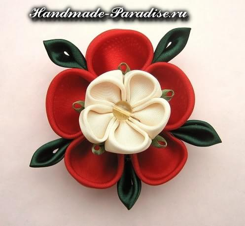 Цветочки канзаши из ткани (14)