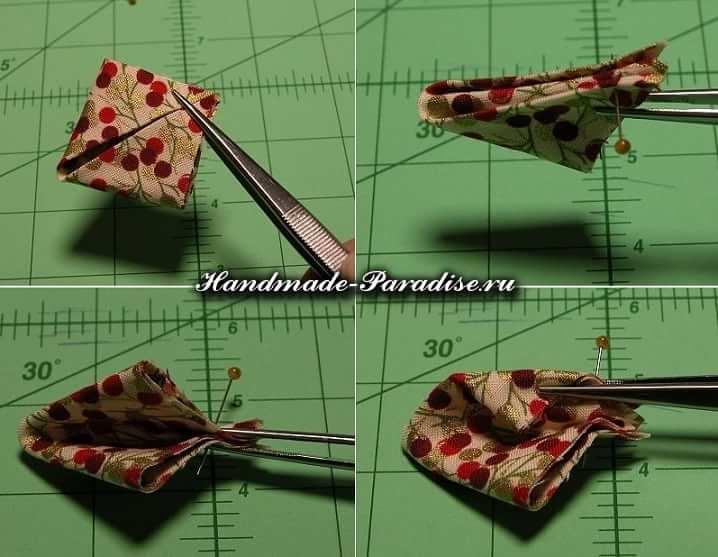 Цветочки канзаши из ткани (2)