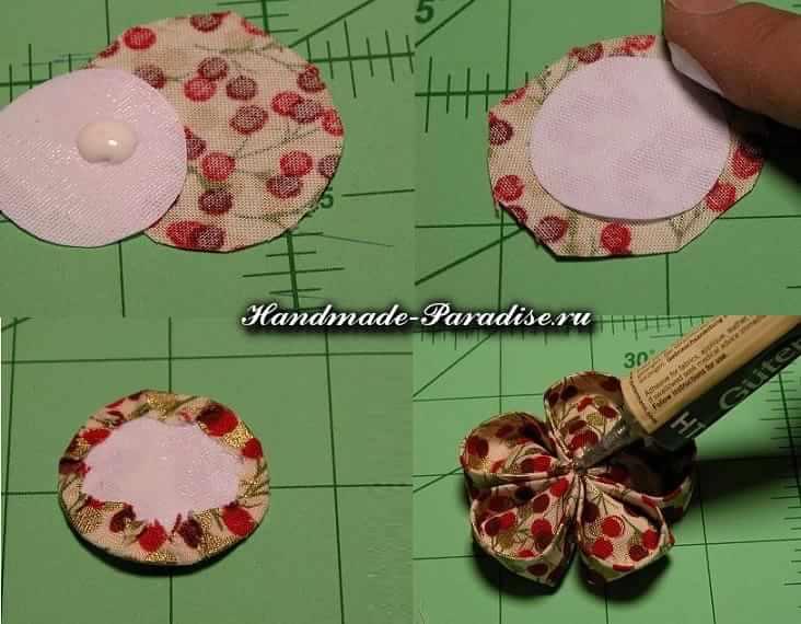 Цветочки канзаши из ткани (7)