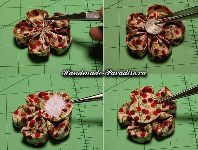 Цветочки канзаши из ткани (8)