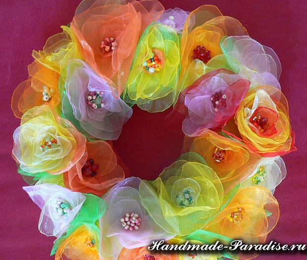 Цветок из органзы своими руками