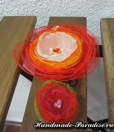 Цветы из органзы. Мастер-класс (12)
