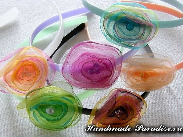 Цветы из органзы. Мастер-класс (5)