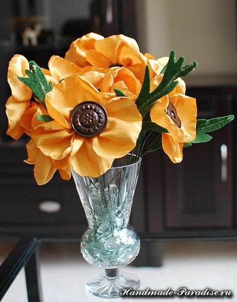 Цветы из синтетической ткани (2)