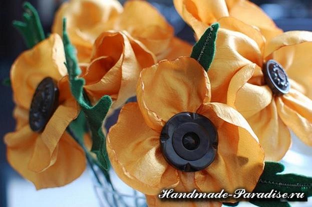 Цветы из синтетической ткани (4)