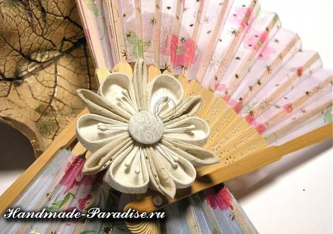 Японские цветы из ткани мастер класс + видео #8