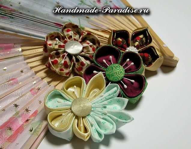 Цветы канзаши из ткани (21)
