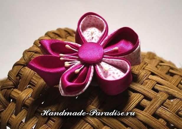Японские цветы из ткани мастер класс + видео #6