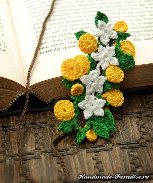 Цветы крючком - закладки для книжки (14)