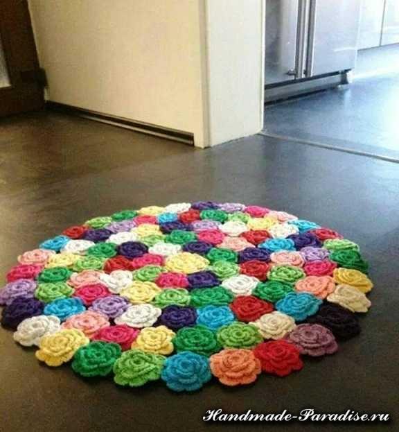 Вязание коврика из розочек крючком
