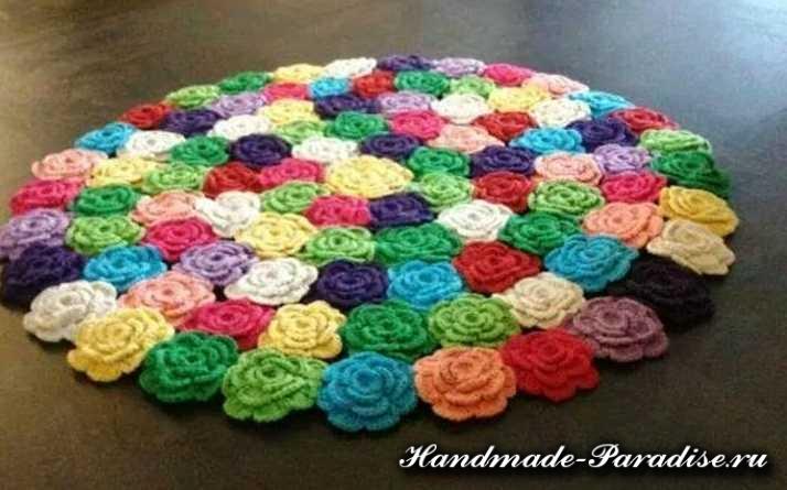 Вяжем коврики крючком из цветов