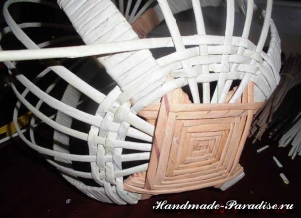 плетение из газет лукошка (5)