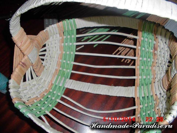 плетение из газет лукошка (6)