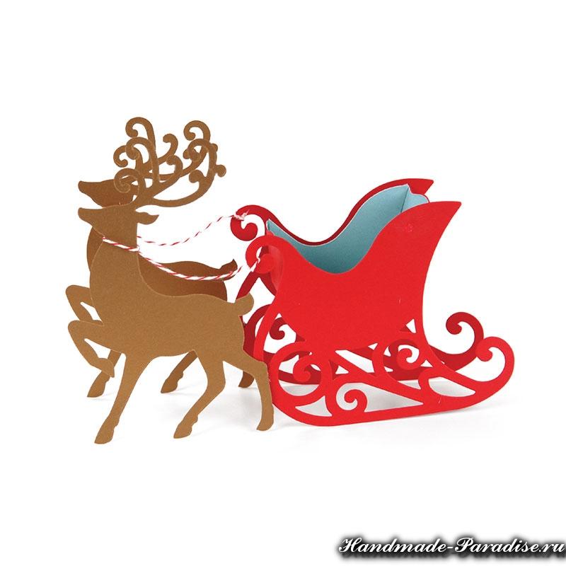 рождественские сани с оленями из бумаги (20)