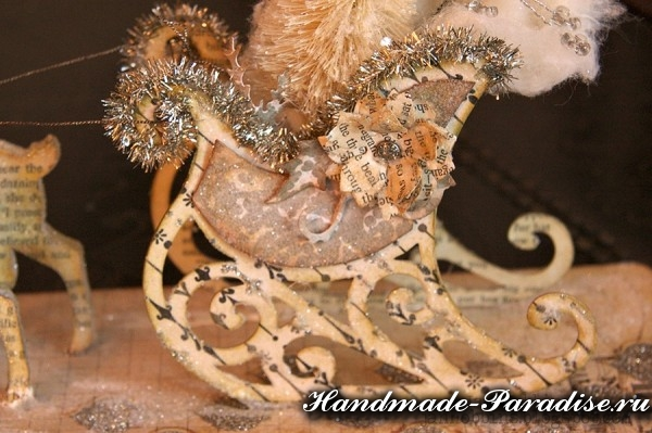 рождественские сани с оленями из бумаги (9)