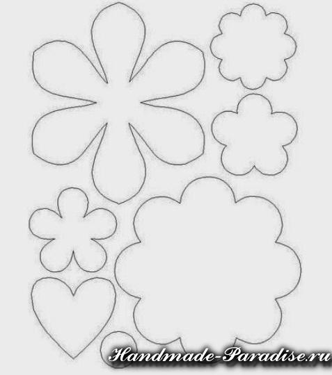 Шаблон цветов из фетра своими руками 765