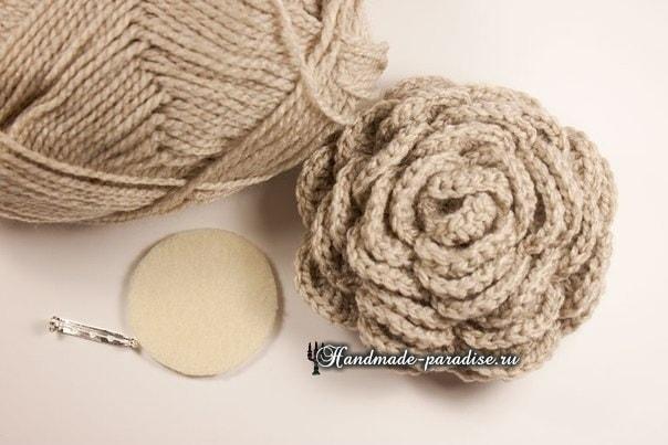Схема для вязания розочки :
