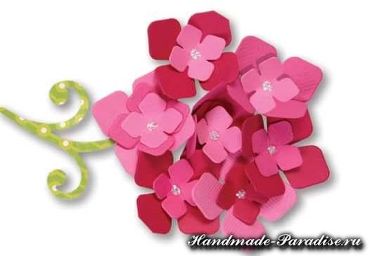 Игольница из фетра с цветами гортензии (2)