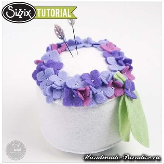 Игольница из фетра с цветами гортензии