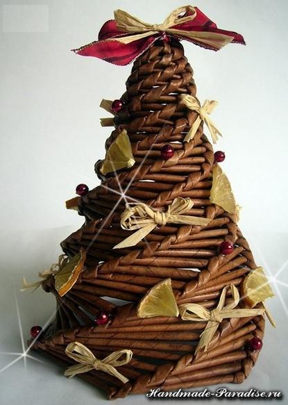 Новогоднее спиральное плетение из газет. Мастер-класс (1)