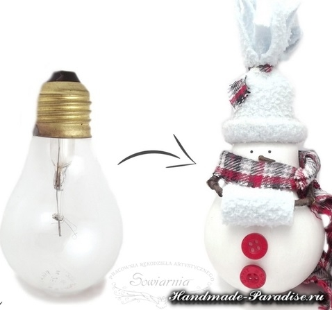 Снеговики из лампочек. Мастер-класс (1)