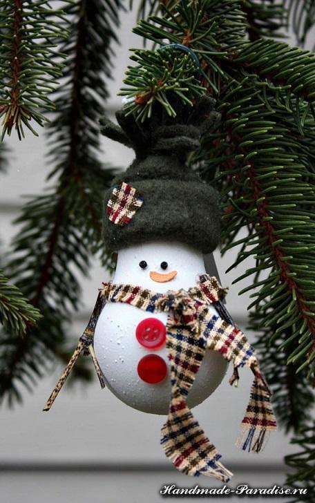 Снеговики из лампочек. Мастер-класс (12)