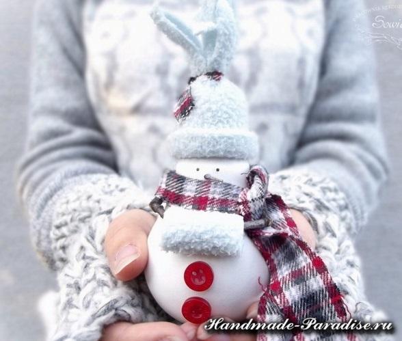 Снеговики из лампочек. Мастер-класс (4)