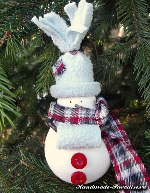 Снеговики из лампочек. Мастер-класс (9)