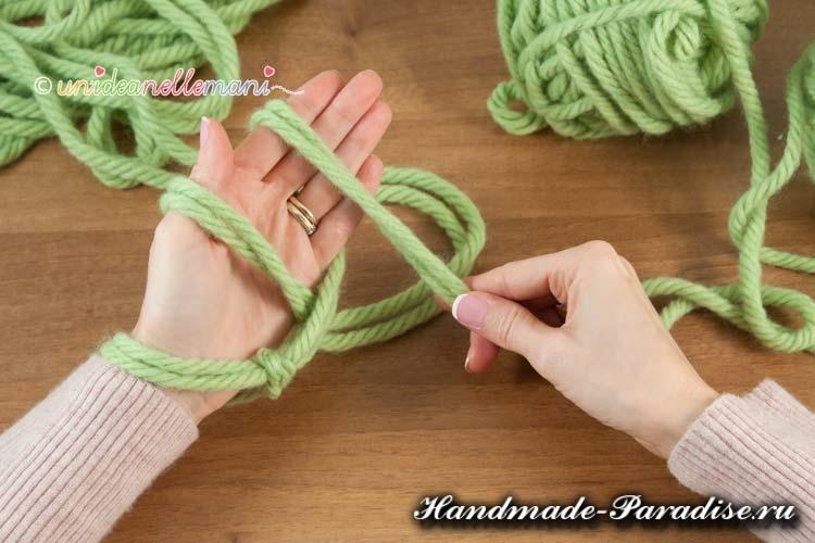 Вязание руками объемного шарфа