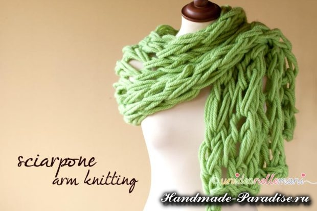 vyazanie na rukah 10 620x413 Вязание руками объемного шарфа