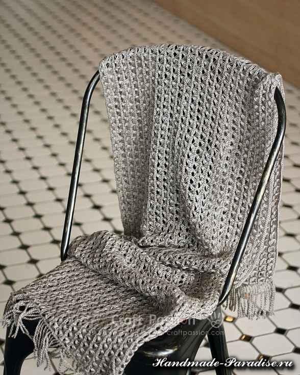 Ажурный шарф перуанским узором (13)