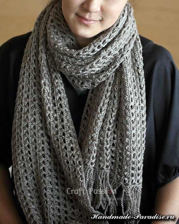 Ажурный шарф перуанским узором Брумстик (14)