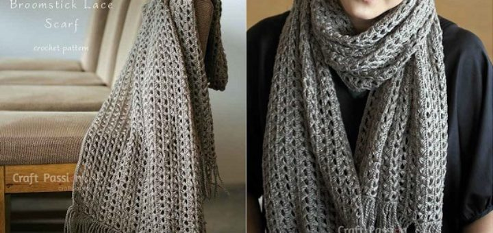 Ажурный шарф перуанским узором Брумстик