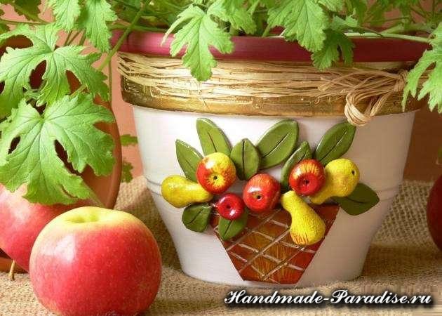 Декор пластиковых цветочных горшков своими руками (28)