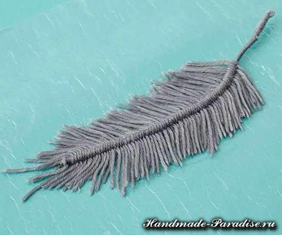 Декоративные перья из ниток. Мастер-класс (7)