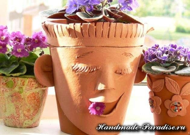Декорирование цветочных горшков своими руками (8)