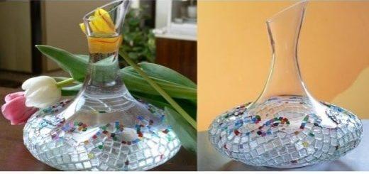 Декорирование вазы стеклянной мозаикой